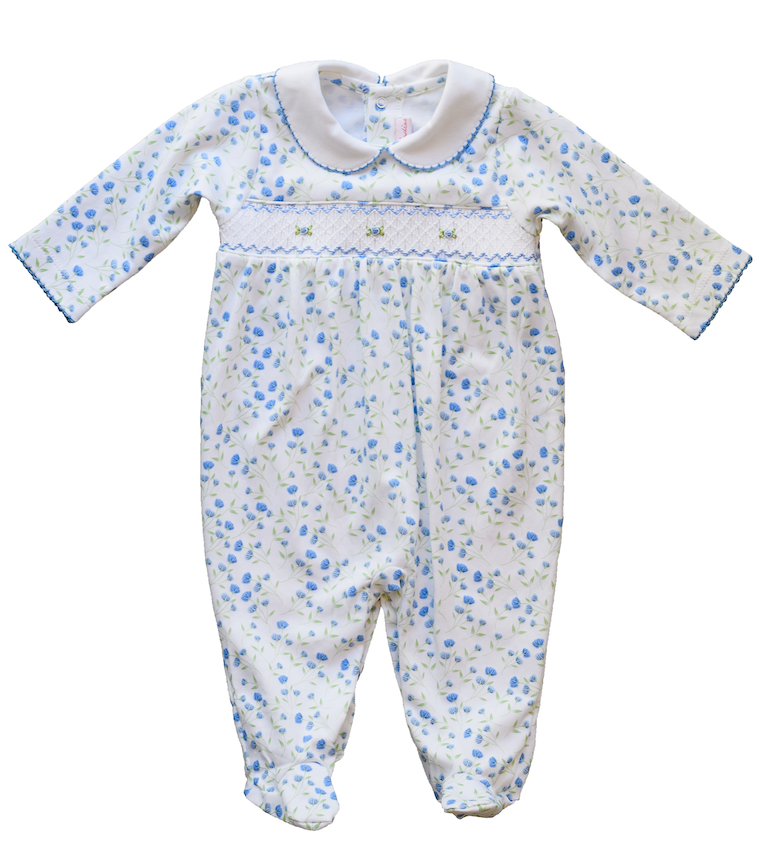 Pineapple Sunshine Arabella hand smocked footie in blue floral