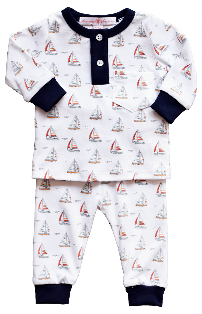 Pineapple sunshine sailboat boys 2 piece pajama