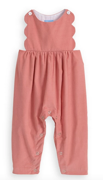 bella bliss  scalloped pink corduroy romper