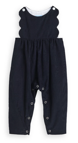bella bliss scalloped romper in navy corduroy
