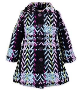 Bouclé Car Coat in Multi Plaid