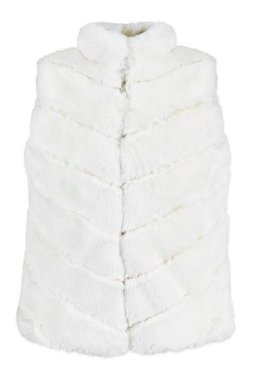 american widgeon faux FUR VEST IN VANILLA LAYER CAKE
