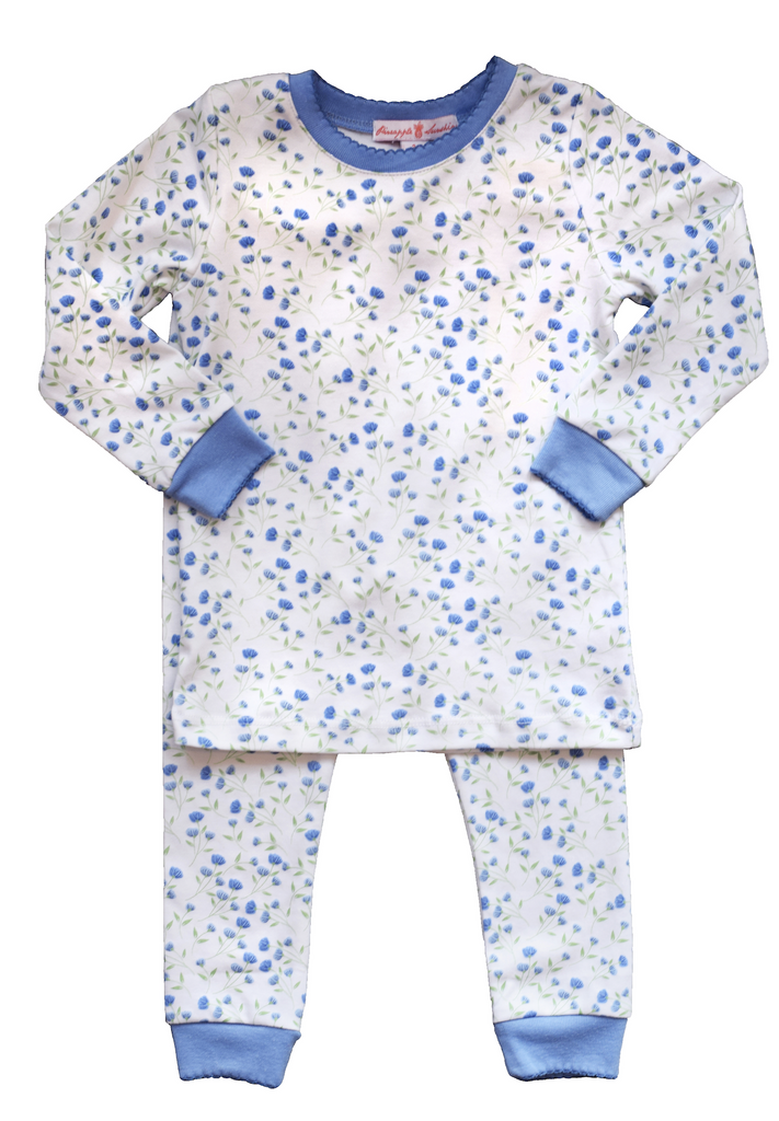Pineapple Sunshine Arabella Blue Floral girls pajama set