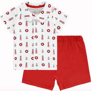Nautical Shirt and Shorts Set Rachel Riley in Red