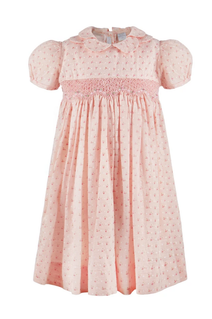 carriage boutique mini pink floral smocked dress