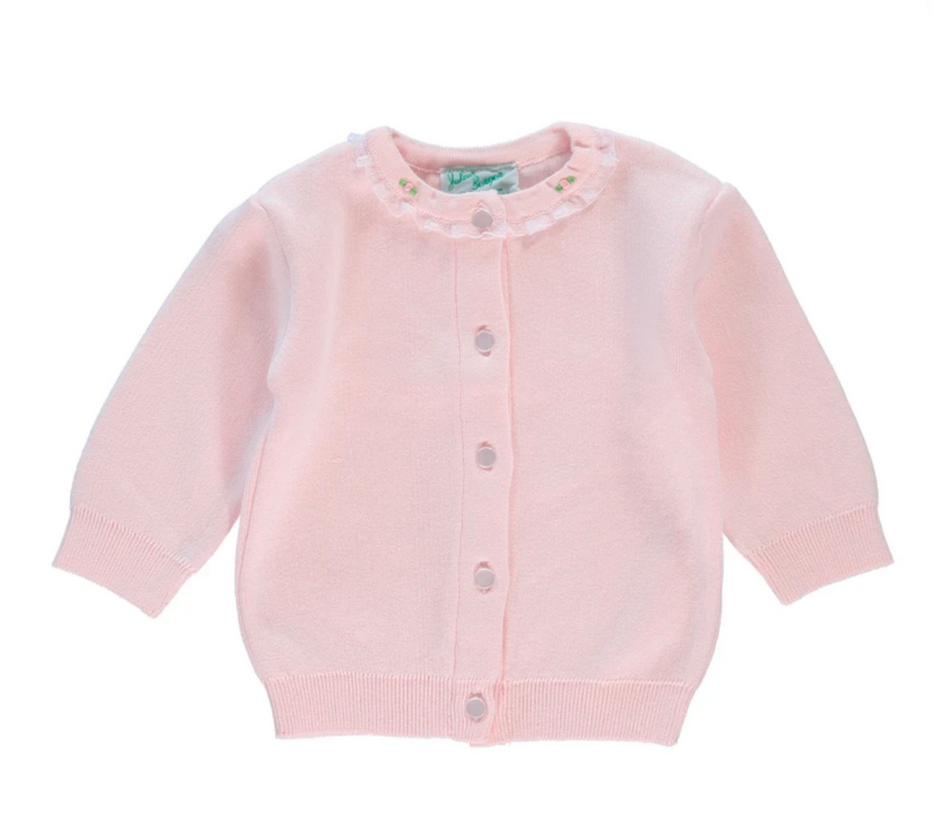 Julius Berger pink cardigan with rosebud neckline