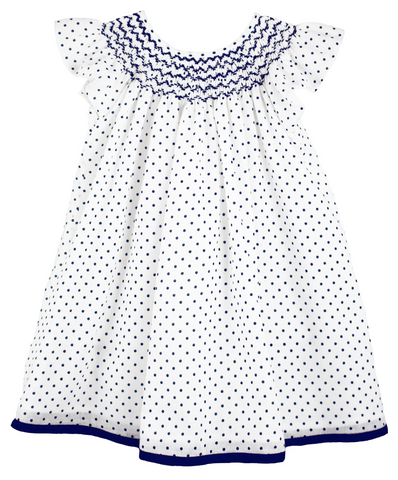 Isabel Garreton Dot Smocked Dress in Navy