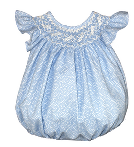 Isabel Garreton confetti dot smocked bubble bishop light blue