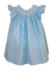 isabel garreton confetti smocked girls bishop dress in blue
