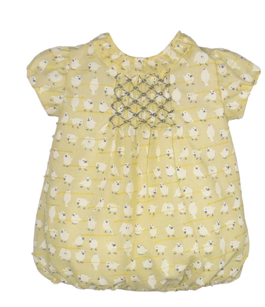 Isabel Garreton Little Birdies yellow smocked bubble