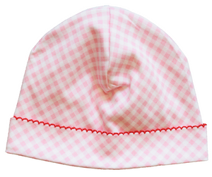 Pink Gingham Hat with Trim