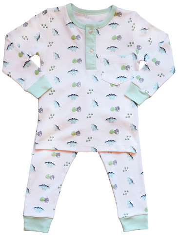 Pineapple Sunshine Dino Print Pajama Set