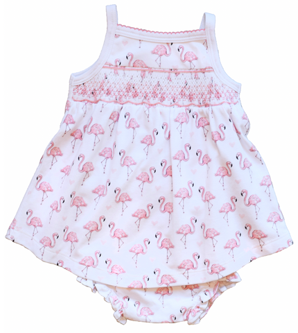 pineapple sunshine pink flamingo smocked dress