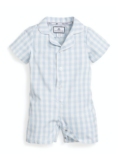 Light Blue Gingham Summer Romper