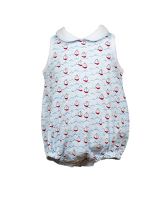 Boys Bubble with Collar and Sailboat Print
