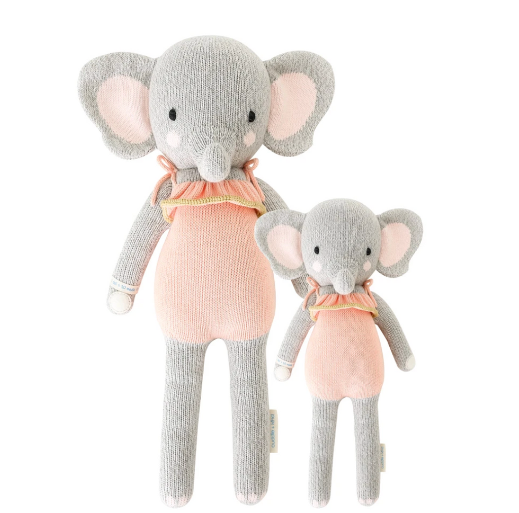 Cuddle and Kinde Eloise the elephant hand knit doll
