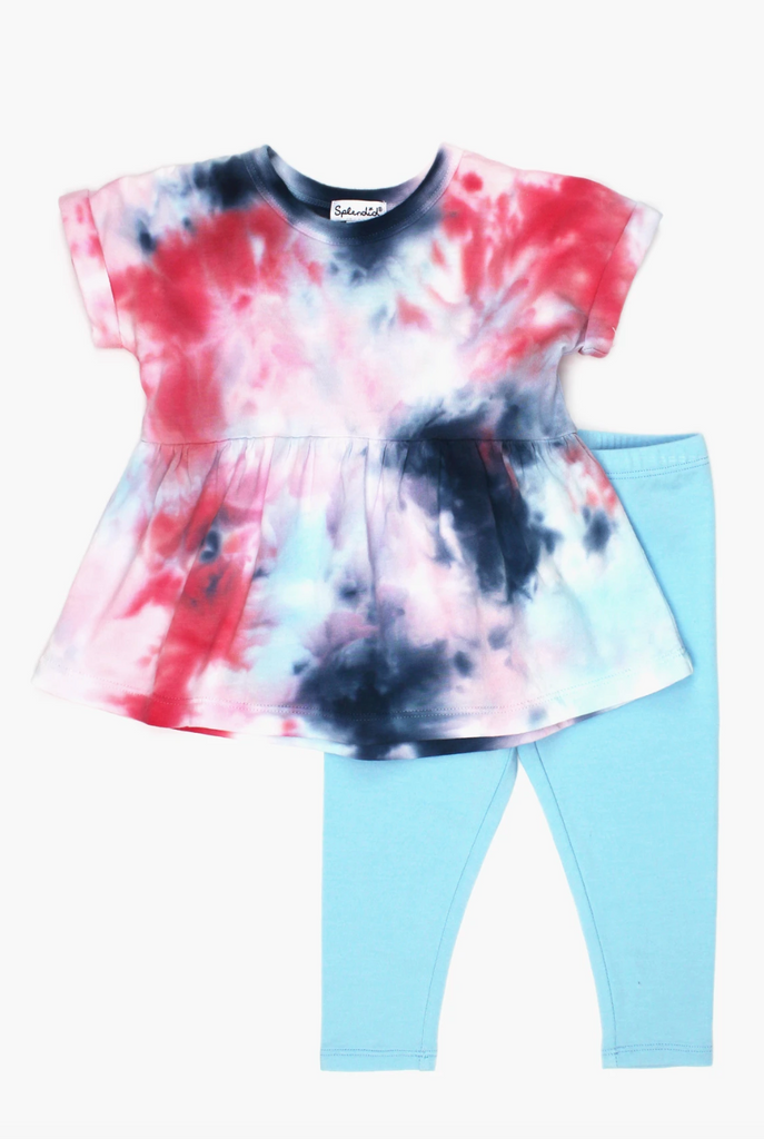 Legging Set with Tie Dye Shirt and Blue Leggings