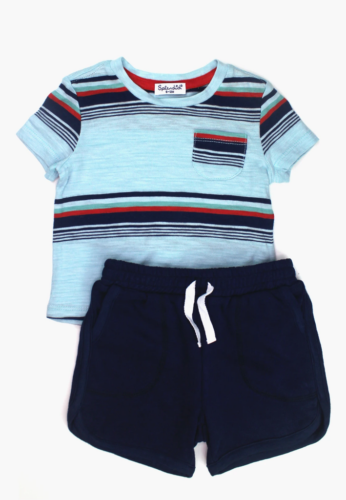 Striped Tee with Navy Shorts