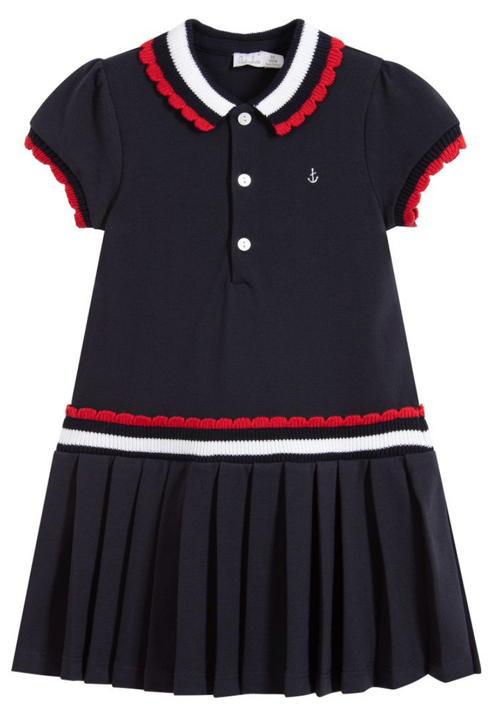 Patachou girls navy knit sailor dress tennis dress