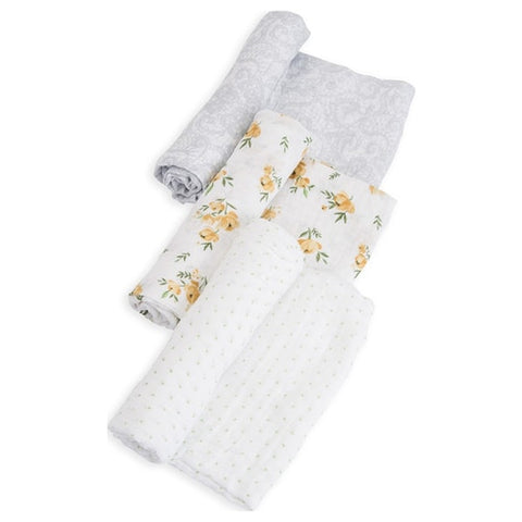Cotton Muslin Swaddle 3 Pack- Yellow Rose Set