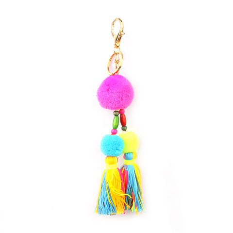 Pom Pom and Tassel Bag Charm with Key Ring