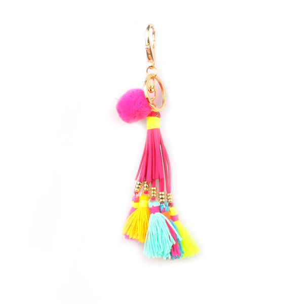 Pom Pom and Leather Tassel Bag Charm