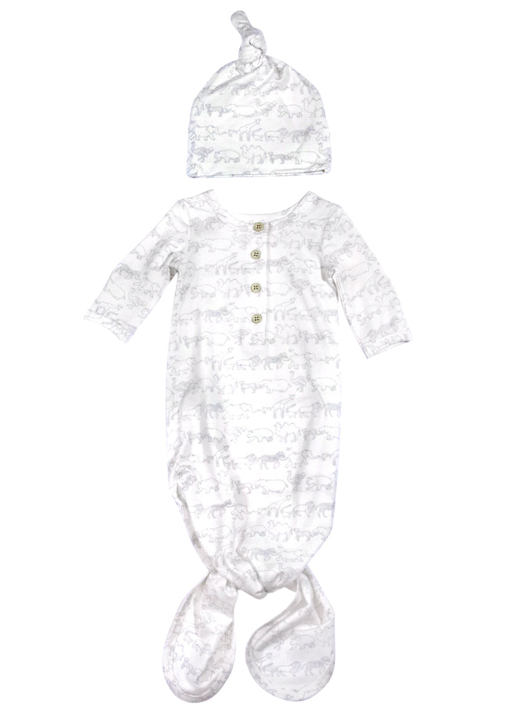 Layette Tie Gown + Hat- Blue Zoo Parade
