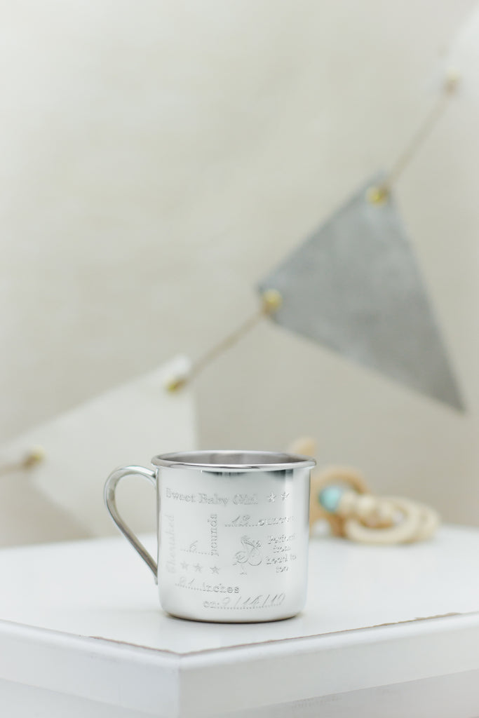 Salisbury pewter engraved silver baby heirloom cup