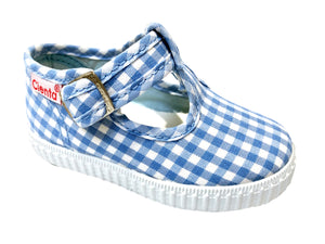 Cienta shoe light blue gingham t-strap
