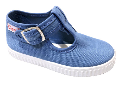 Cienta shoes light blue denim t-strap
