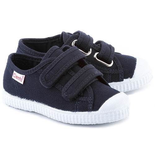 Navy Double Strap Canvas Shoe
