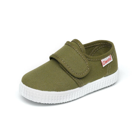 Olive Green Canvas Single Strap Shoe