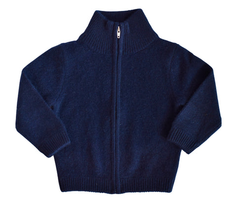 Navy Full Zip Cashmere Cardigan