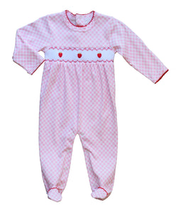 Pineapple Sunshine strawberry smocked gingham footie