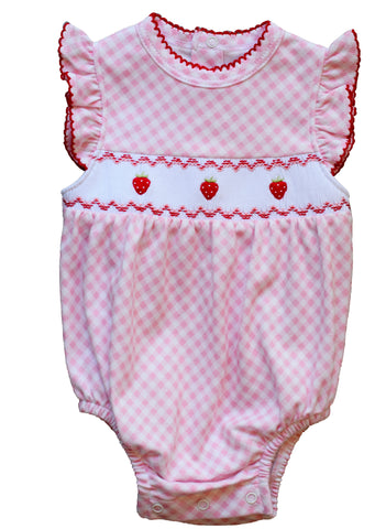 Pink Gingham Bubble with Strawberry Smocking