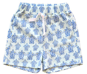 pineapple sunshine blue sea turtle shorts