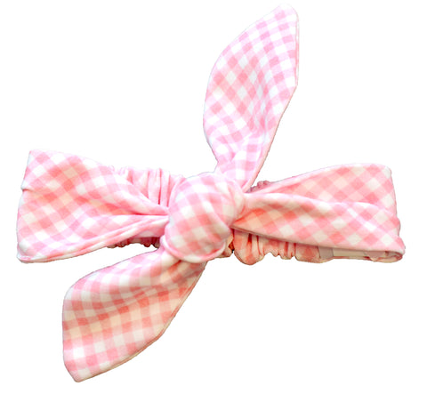 pineapple sunshine pink gingham knot headband