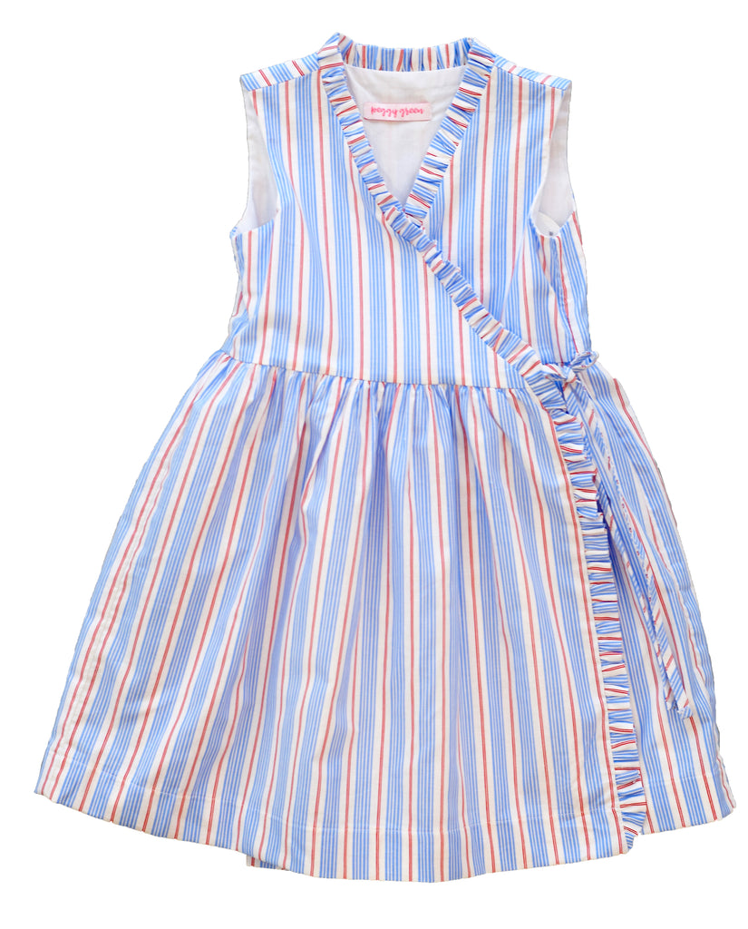 peggy green sleeveless girls wrap dress in red/blue stripe