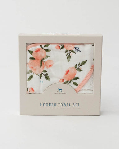 Hooded Towel Set - Watercolor Roses
