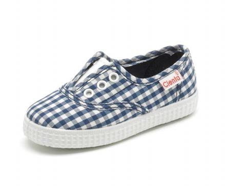 cienta blue gingham slip on shoes