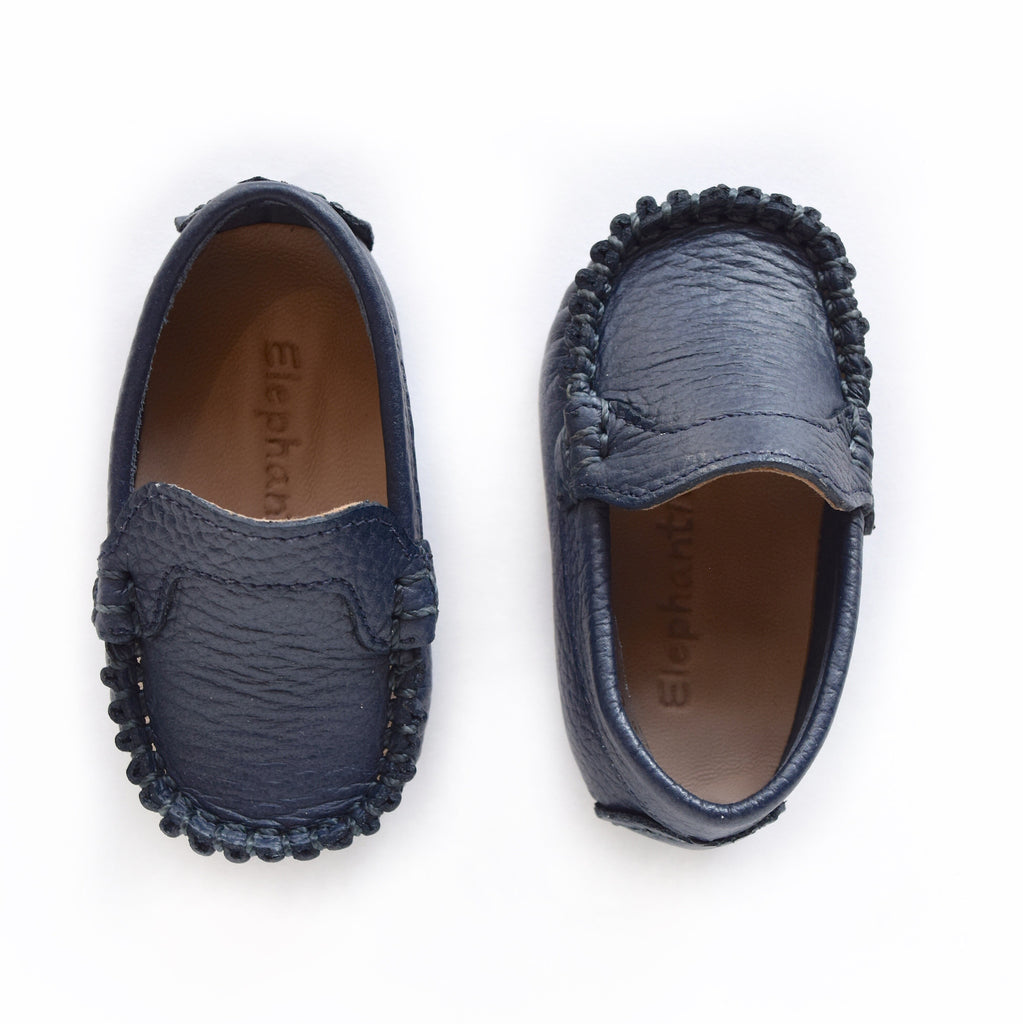 Navy Leather Driving Moccasin