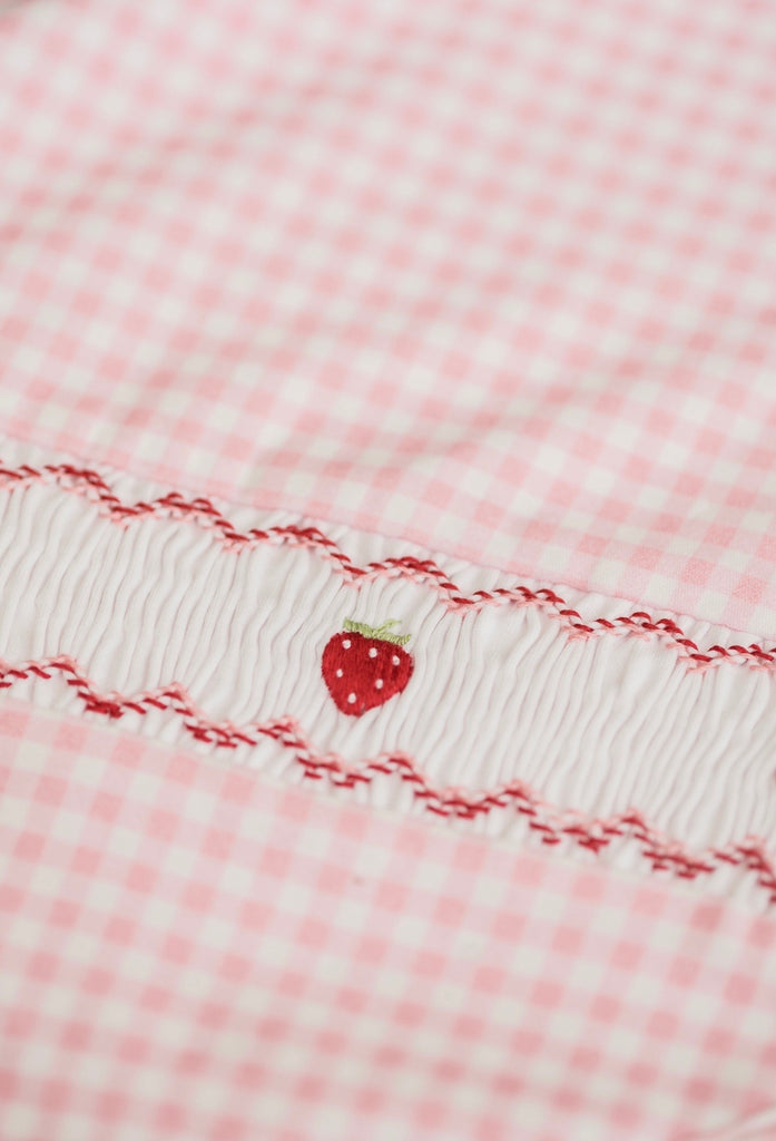 Pink Gingham Blanket with Smocked Strawberries