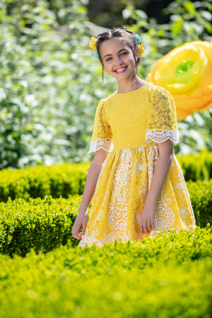 Lace and Yellow Party Dress