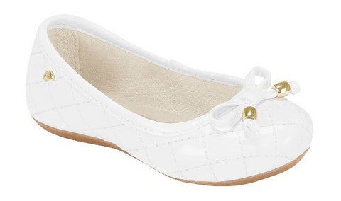 Pampili white quilted ballet shoe with bow