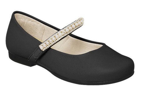 Pampili black patent ballet flat with pearl details