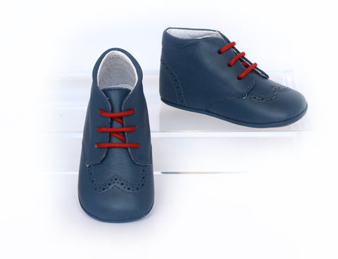 Blue Leather Crib Shoe