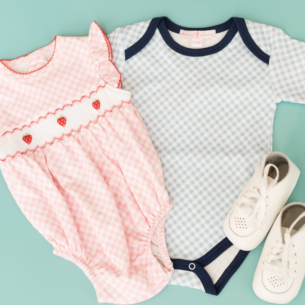 Blue Gingham Short Sleeve Onesie
