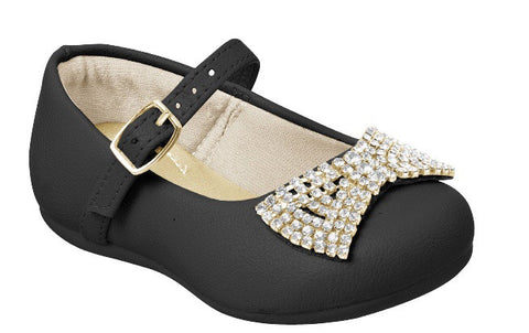 Pampili girls black ballet shoe with rinestone bow on toe