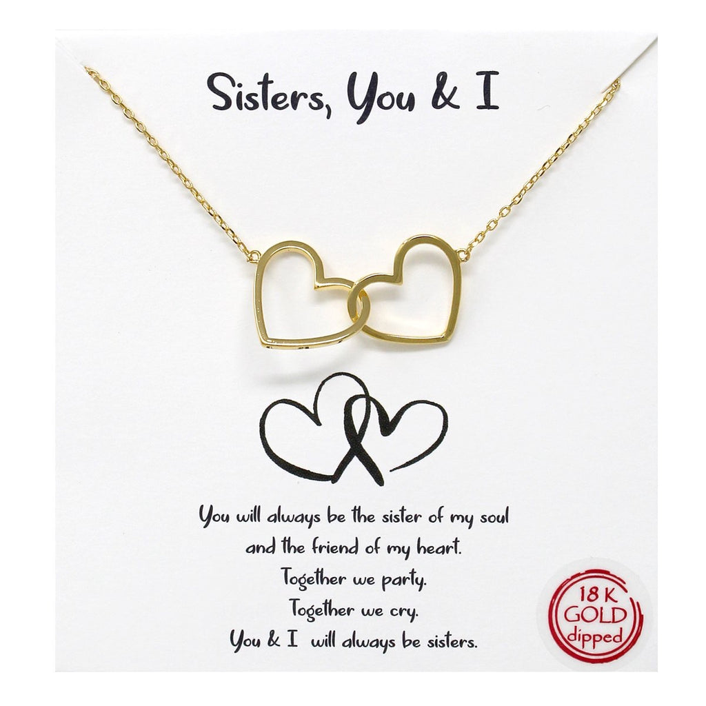 Sisters, You and I 18 K Gold Dipped Necklace