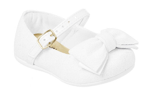 White Crib Shoe with Bow
